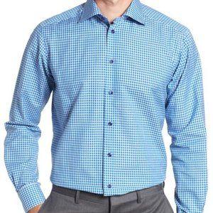 Eton blue white plaid BNWT Medium dress shirt